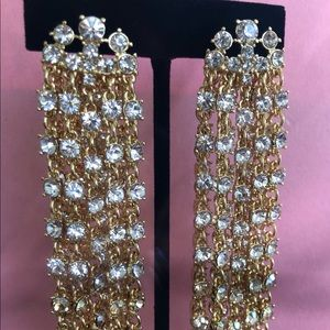 Oscar de la Renta gold/crystal waterfall earrings